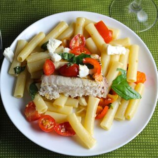 Grilled Swordfish Pasta Margherita, included in Cooking Chat great grilled fish recipe roundup.