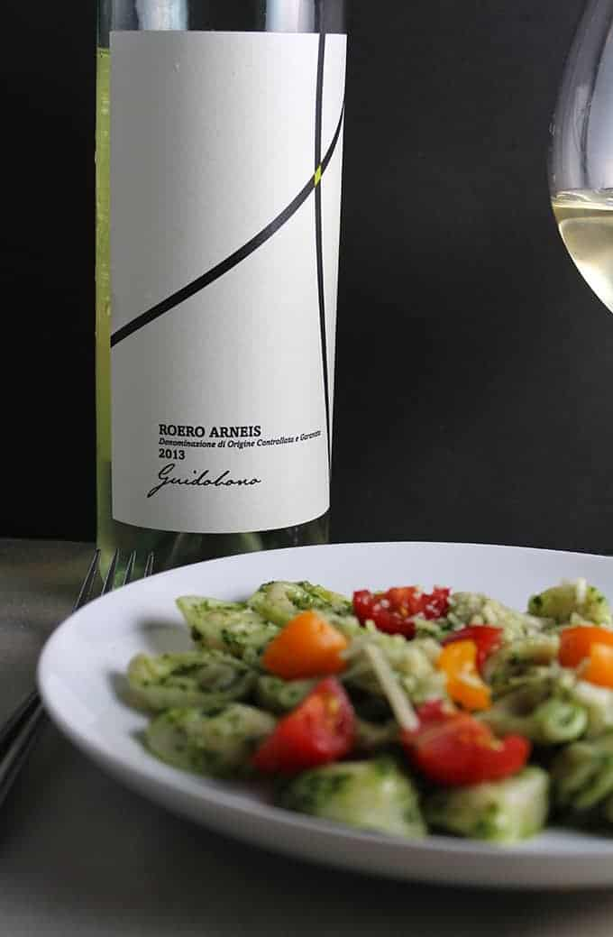 2013 Guidobono Arneis Italian white wine pairs well with kale pesto, and is good for summer sipping.