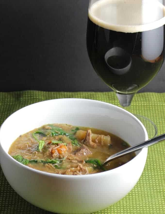 Slow Cooker Irish Lamb Stew served with Guinness