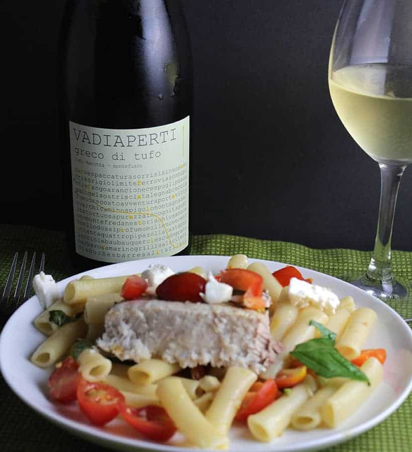Grilled Swordfish Pasta with a white wine from Campania.