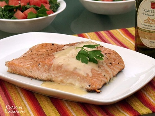 Grilled Salmon with Beurre Blanc from Curious Cuisiniere