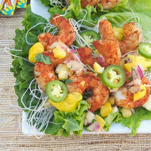 Grilled Blackened Shrimp Lettuce Wraps from Simply Healthy Family
