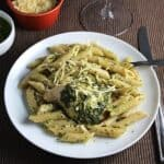 baked chicken with pesto and penne