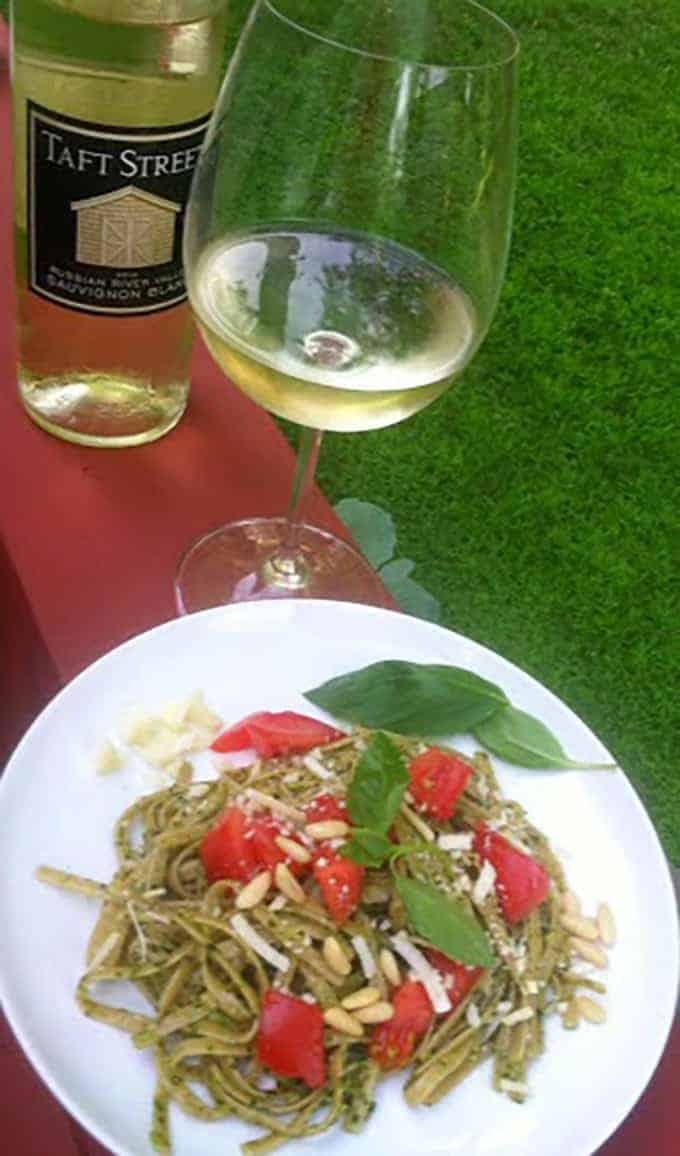 Linguine with Basil Pesto with a Sauvignon Blanc, a Cooking Chat summer wine pairing.
