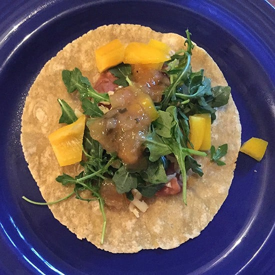 bean tacos with mango salsa recipe from Cooking Chat.