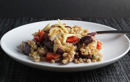 Farro with Eggplant and Tomatoes for #SundaySupper