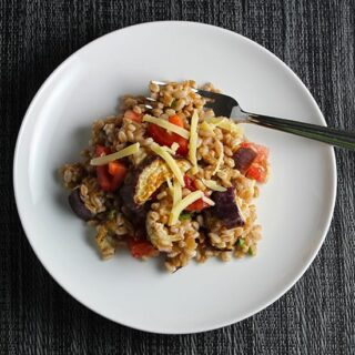 Farro with Eggplant and Tomatoes #SundaySuppper