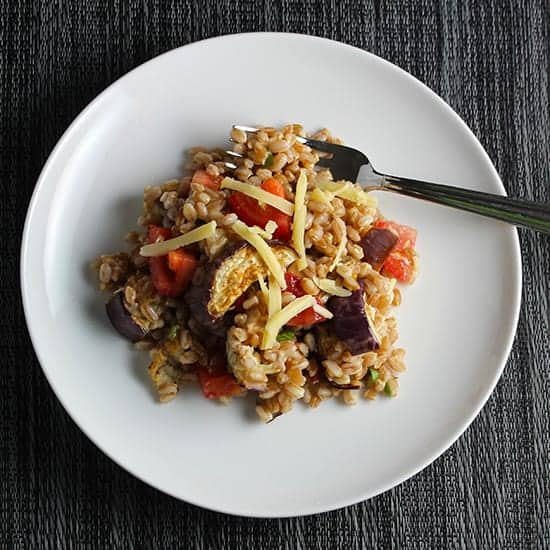 farro with eggplant and tomatoes .