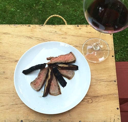 grilled ribeye portobello with red wine