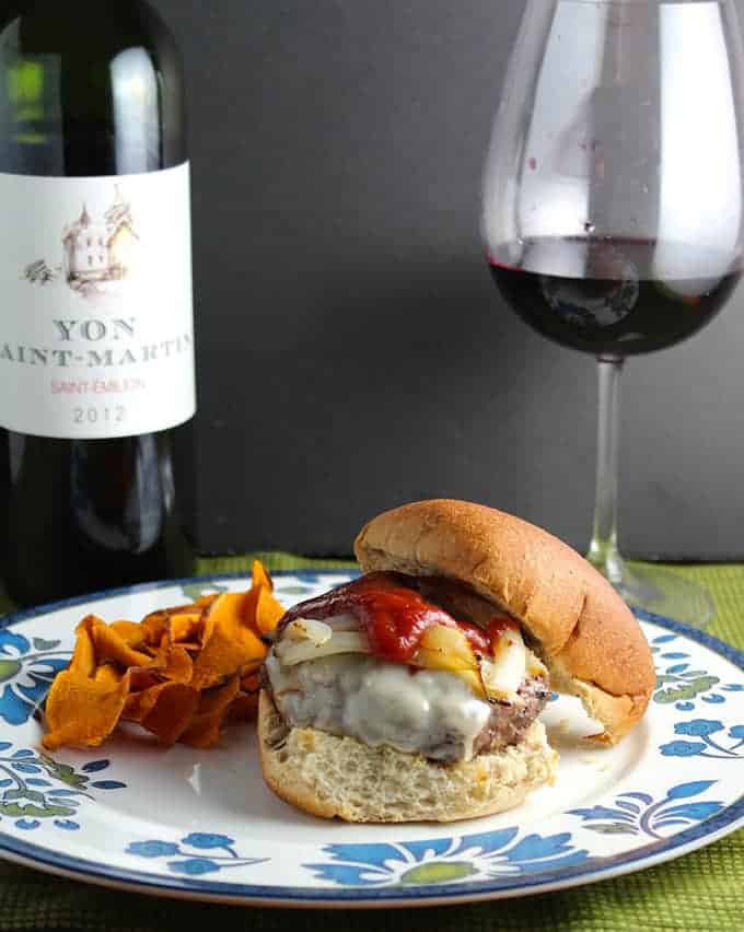 Gruyere Burger and a Bordeaux for Wine Pairing Weekend.