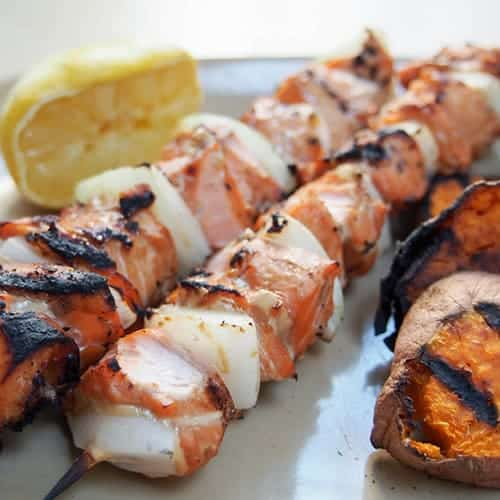 Honey-Soy Salmon Skewers from Caroline's Cooking