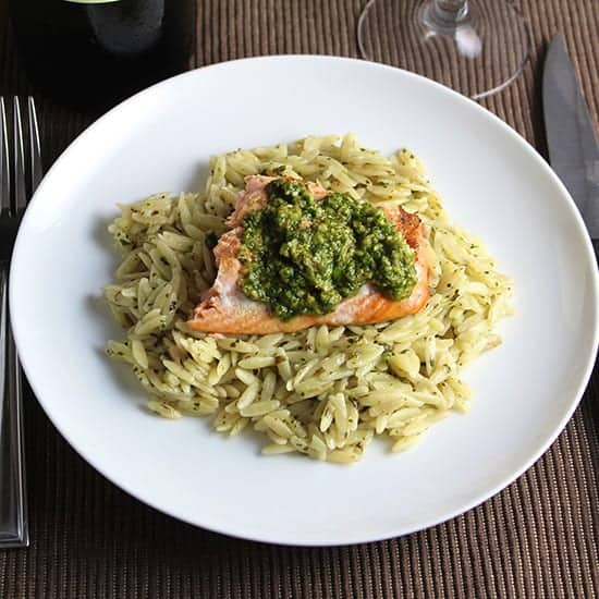 Orzo, Salmon and Pesto paired with a Frascati wine.