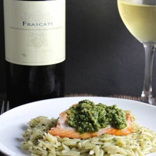 Orzo, Salmon and Pesto with a Frascati