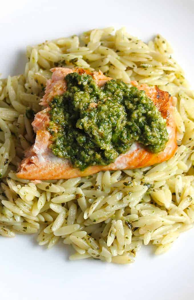 Orzo, Salmon and Pesto on a plate