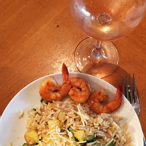 sautéed shrimp goes well with a Provence rose.