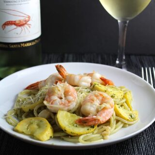 Summer Spaghetti with Garlicky Shrimp and a Vermentino