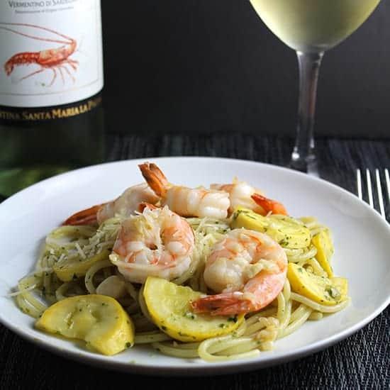 spaghetti with garlicky shrimp