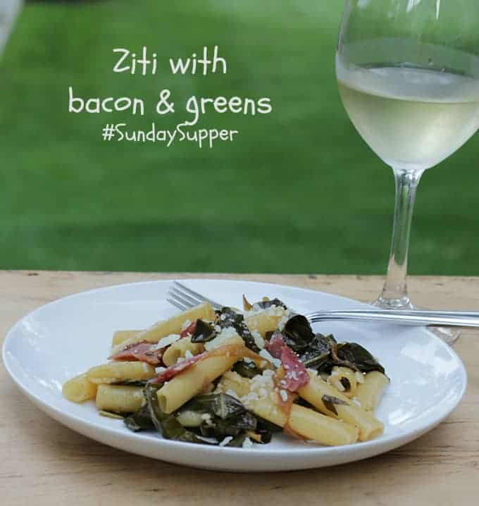Ziti with bacon and greens for #SundaySupper