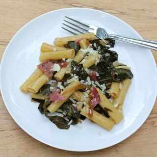 ziti with bacon and greens.