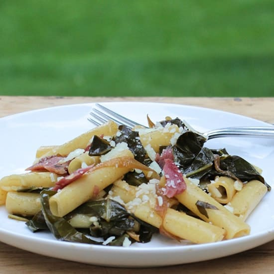 ziti with bacon and greens recipe