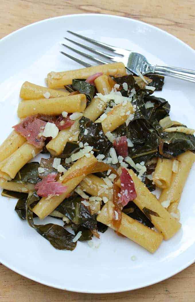 Ziti with Bacon and Greens recipe for #SundaySupper.