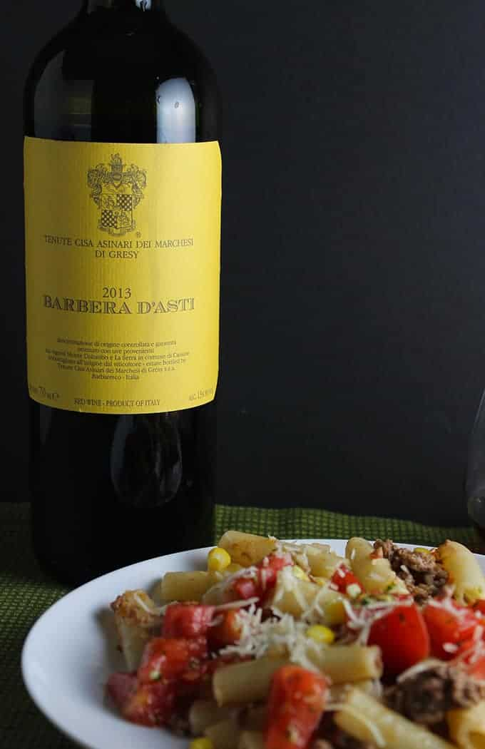 A good Barbera D'Asti to go with a tomato meat sauce.