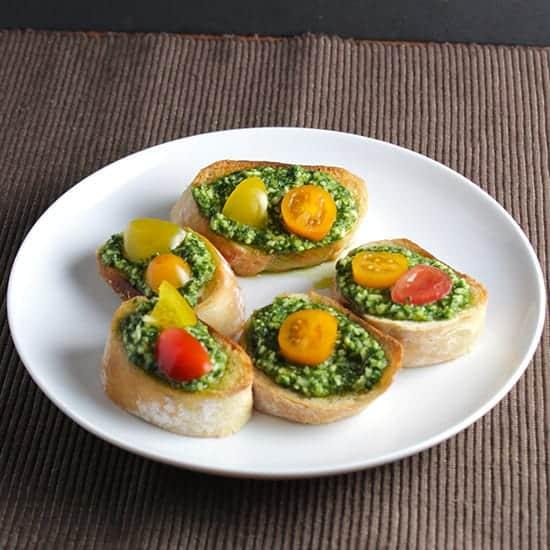classic basil pesto crostini.