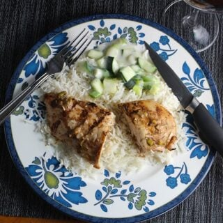 Grilled Tandoori Chicken recipe, served with raita and basmati rice. | cookingchatfood.com