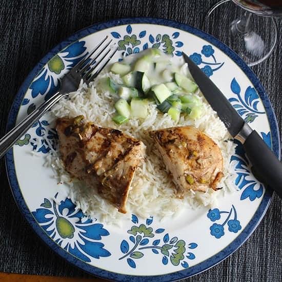 Grilled Tandoori Chicken recipe, served with raita and basmati rice.   cookingchatfood.com
