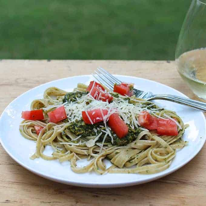 linguine with delicious nut free pesto recipe made with pumpkin seeds.