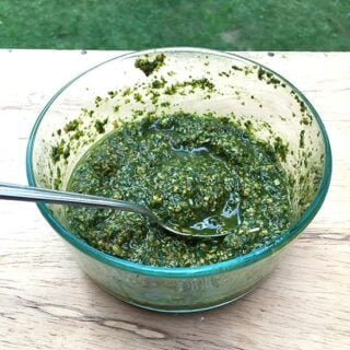 Nut-free pesto sauce recipe. | cookingchatfood.com