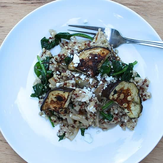 Quinoa with Grilled Eggplant and Spinach | cookingchatfood.com
