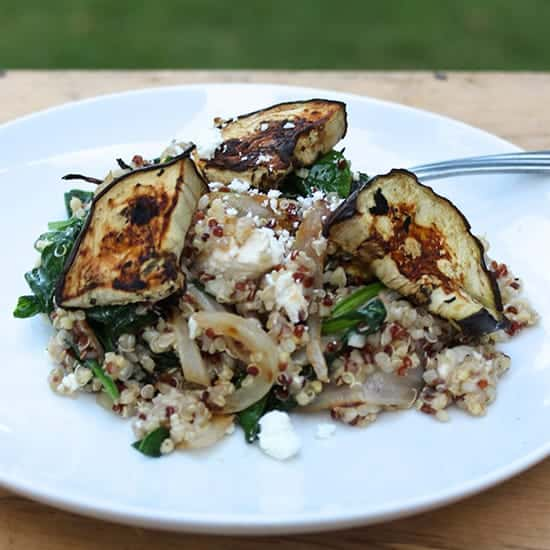 Quinoa with Grilled Eggplant, Spinach and Feta | cookingchatfood.com