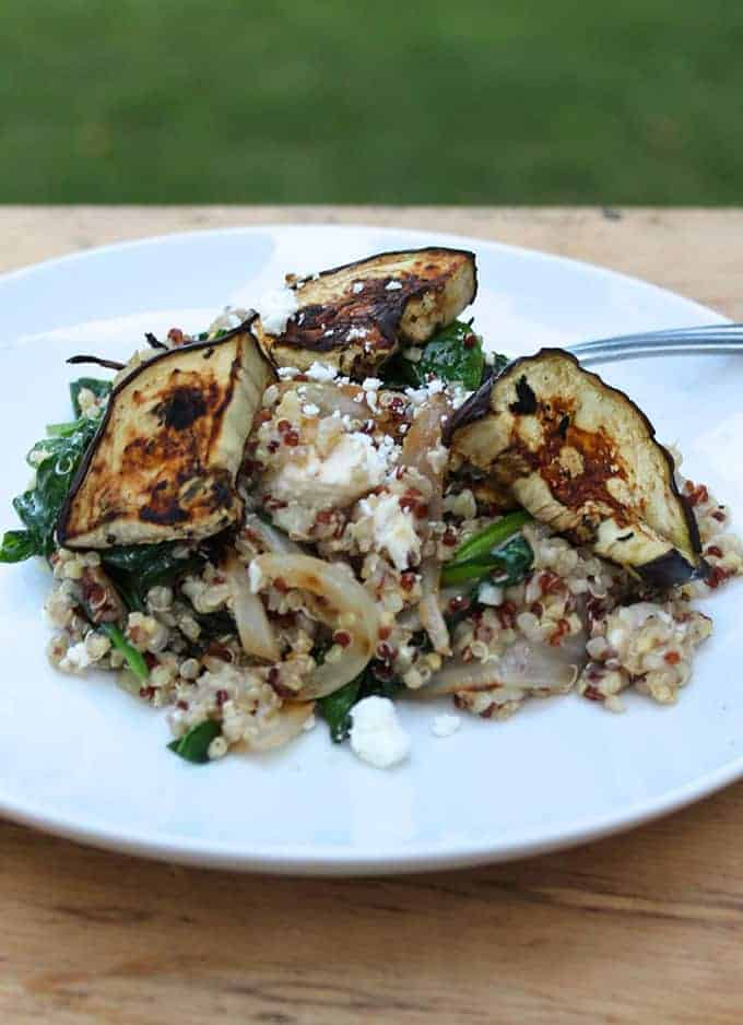 Quinoa with Grilled Eggplant, Spinach and Feta makes a tasty side or a substantial vegetarian main | cookingchatfood.com