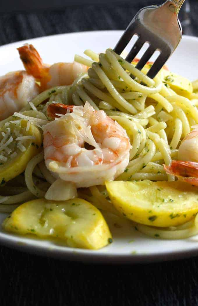 Summer Spaghetti with Garlicky Shrimp recipe