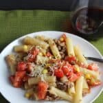 Ziti with Summer Tomato Meat Sauce