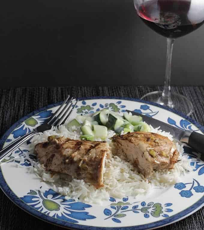 Grilled Tandoori Chicken served with a Pinot Noir. | cookingchatfood.com