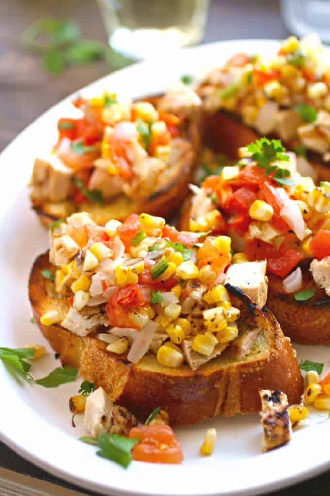 Grilled Chicken Veggie Bruschetta from Grab a Plate, included in Labor Day Grilling recipe roundup.
