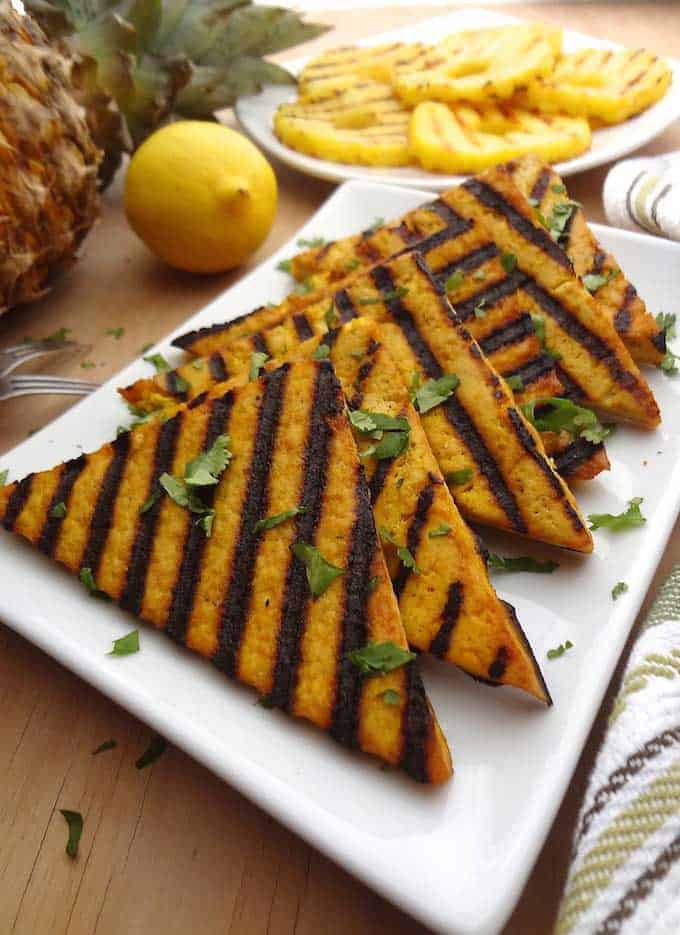 Grilled Lemon Pineapple Tofu from Where You Get Your Protein, from Labor Day Grilling roundup.