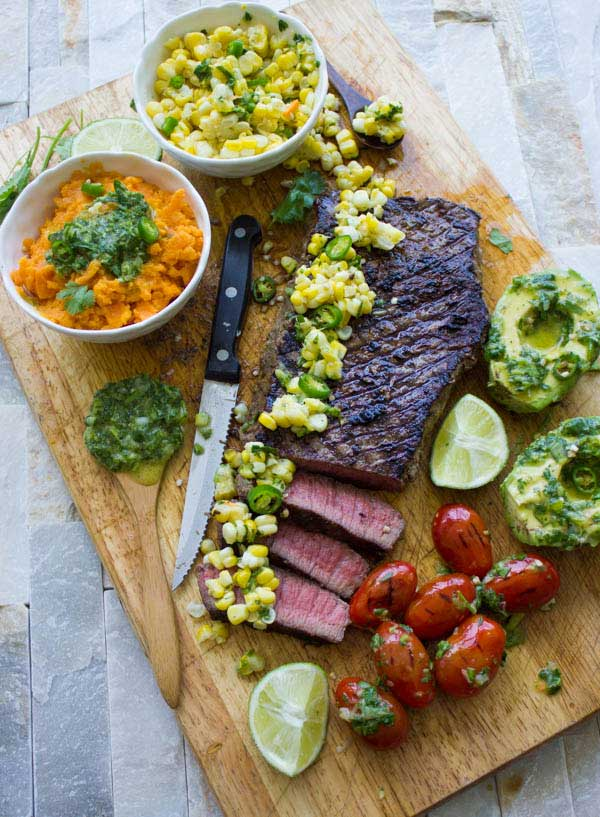 Grilled Sirloin Steak with Cilantro Corn Salsa from Two Purple Figs, included in Cooking Chat Labor Day Grilling roundup.
