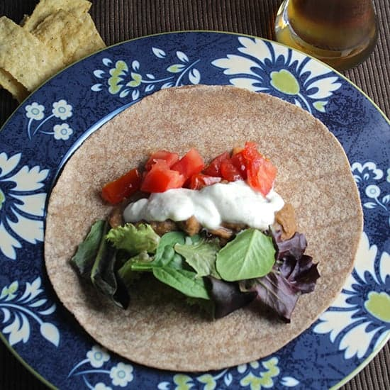 Bean Tacos with Tofu Cream, tasty meatless tacos dish served with chips and a nice cold beer | cookingchatfood.com