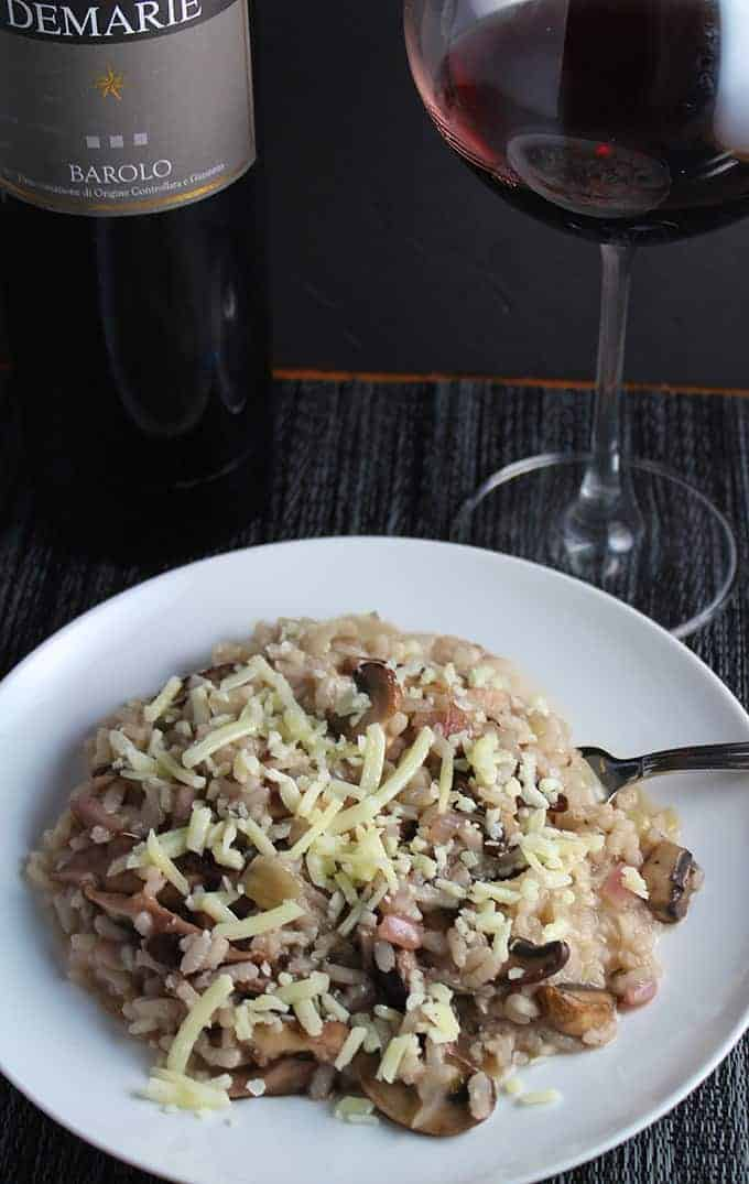 Demarie Barolo paired with a mushroom risotto. Tasty wine pairing!