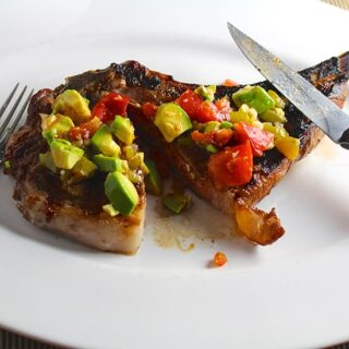 Grilled Ribeye with Hatch Chile Avocado Salsa