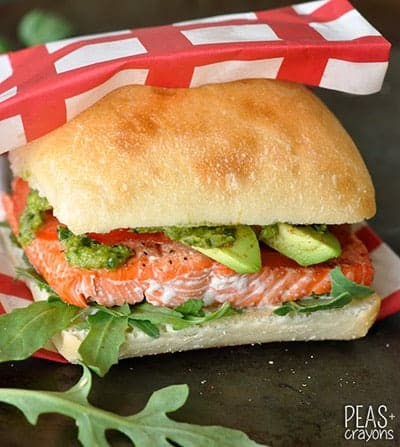 Grilled Salmon Sandwiches from Peas and Crayons, included in Cooking Chat Labor Day grilling roundup.