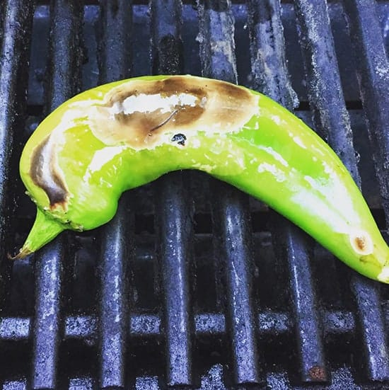 grilling a Hatch chile pepper | cookingchatfood.com