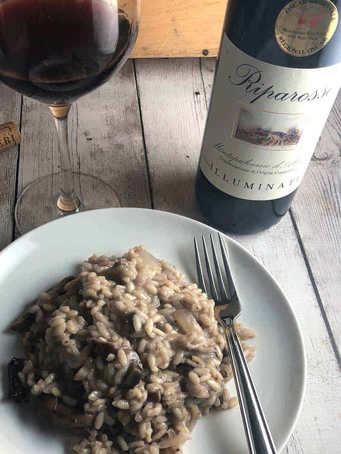mushroom risotto paired with red wine.