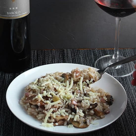 Mushroom risotto with a Demarie Barolo.