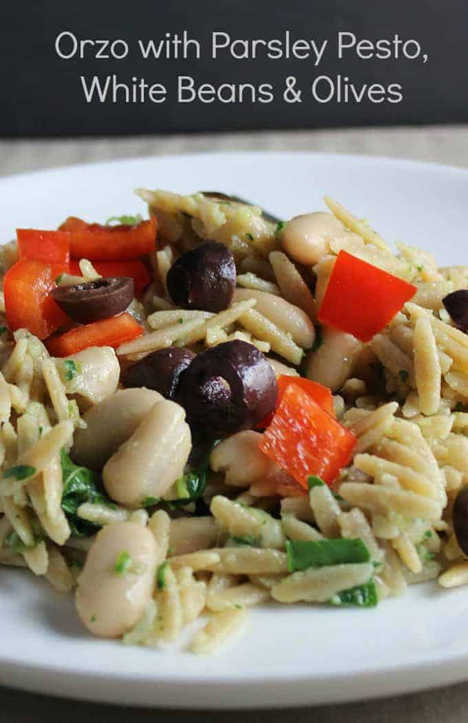 Orzo with Parsley Pesto and Olives makes a tasty side dish or vegetarian main | cookingchatfood.com
