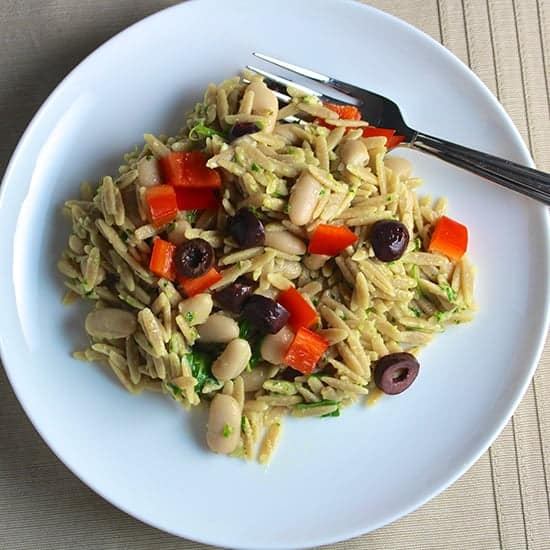 Orzo with Parsley Pesto, White Beans and Olives