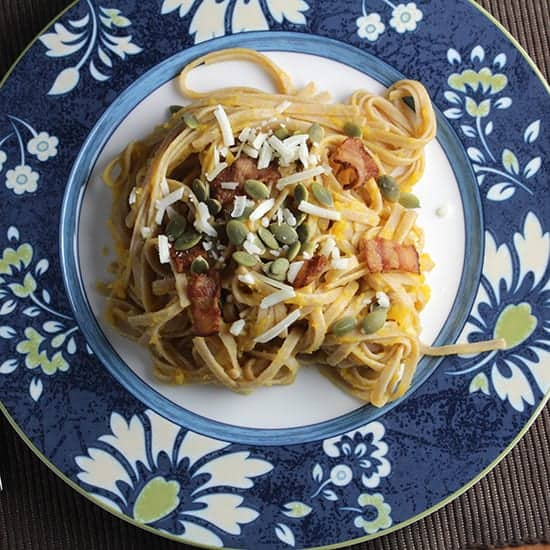 Pasta with Creamy Butternut and Bacon for a tasty fall meal.